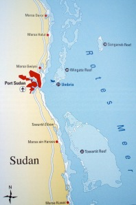 Lage der Tauchplätze vor Port Sudan